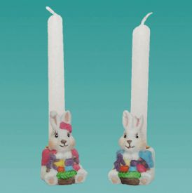Closeout Bunny Candle Holder Set Is 1 piece