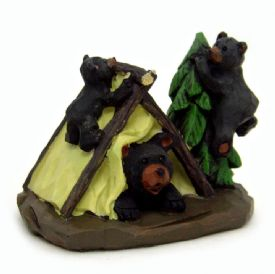 Black Bears Camping Figurine