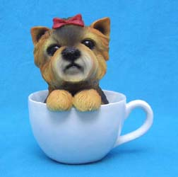 Puppy In Tea Cup Figurine - Yorkie