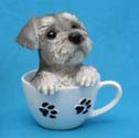 Puppy In Tea Cup Figurine - Schnauzer