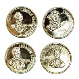 Gold Coin With Presidents On Them