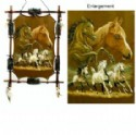 Horse Scene With Wooden Frame