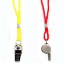 Metal Whistles On Lanyard